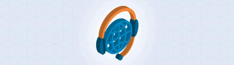 Headset auf Globus-Icon